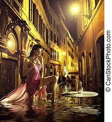 bonito, mulher, levando, urbano, banho
