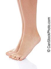 bonito, mulher, limpo, feet.