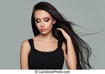 bonito, mulher, modelo moda, com, longo, saudável, hairstyle., haircare, conceito
