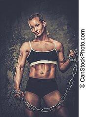 bonito, mulher,  Muscular,  bodybuilder, segurando, correntes