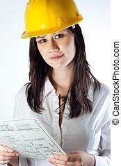 bonito, mulher negócio, com, construção, planos