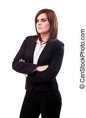 bonito, mulher negócios fica, com, braços cruzados