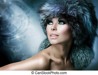 bonito, mulher, pele, Inverno, moda, chapéu, menina