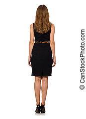 bonito, mulher preta, vestido