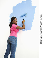 bonito, mulher, quadro, wall.