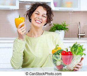 bonito, mulher saudável, alimento, jovem