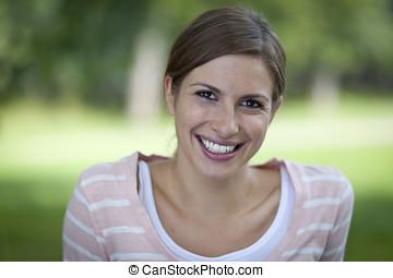 bonito, mulher sorri, parque