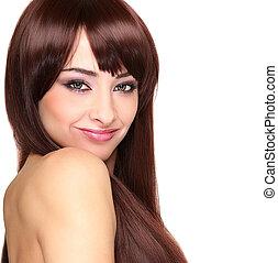 bonito, mulher sorridente, com, cabelo longo, looking., closeup, isolado, retrato