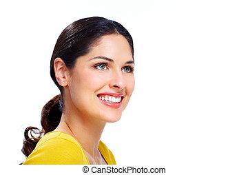 bonito, mulher sorridente, .
