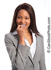 bonito, mulher sorridente, negócio