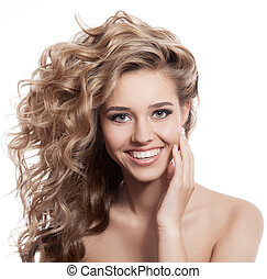 bonito, mulher sorridente, retrato, branco, fundo
