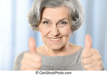 bonito, mulher velha