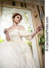 bonito, mulher victorian, lar, vestido branco