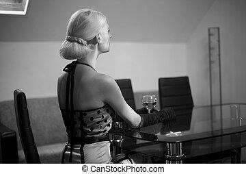 bonito, mulheres, com, vinho