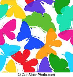 bonito, multi coloriu, seamless, borboletas, white., fundo