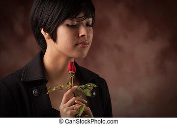 bonito, multiethnic, adulto jovem, retrato mulher, com, rosa