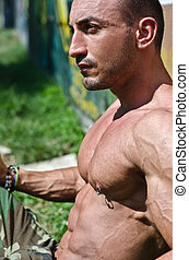 bonito, muscular, bodybuilder, shirtless, sentar-se grama