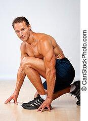 bonito, muscular, homem, fazendo, condicão física, exercise.