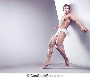bonito, muscular, sujeito, em, a, estúdio