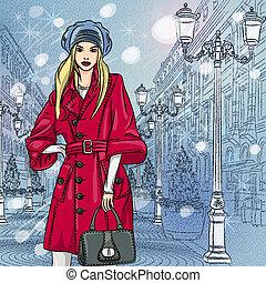 bonito, na moda, vetorial, cityscape, menina, natal