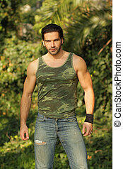 bonito, natural, jovem, muscular, armando, retrato, homem