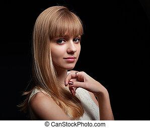 bonito, natural, maquilagem, mulher olha, pacata