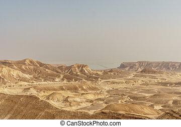 bonito, natureza, deserto, em, secos, judean, pitoresco, wilderness., ao ar livre, panorâmico, paisagem