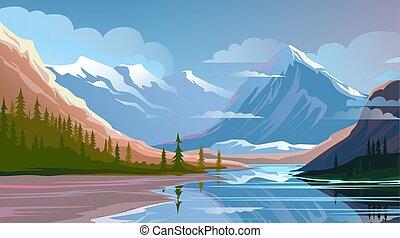bonito, natureza, paisagem., paisagem, montanha, noite, natural