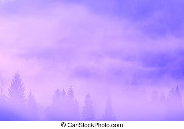bonito, nebuloso, manhã, montanhas