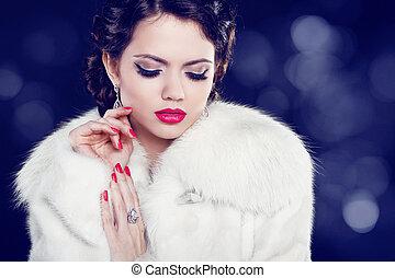 bonito, noite, pele, jóia, beauty., coat., mulher, maquiagem, moda, foto
