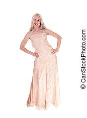 bonito, noite rosa, luz, mulher, vestido
