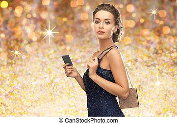 bonito, noite, vip, mulher, vestido, cartão