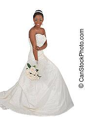 bonito, noiva, americano, africano, retrato