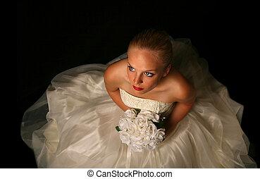 bonito, noiva, d, contra