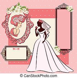 bonito, noiva, dress.
