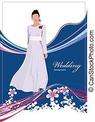 bonito, noiva, em, branca, vestido, ligado, nós