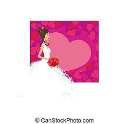 bonito, noiva, flores, cartão