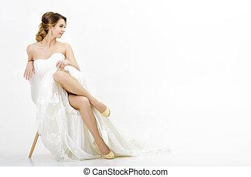 bonito, noiva, fundo, casório, vestido branco, feliz