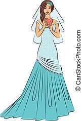 bonito, noiva, ilustração