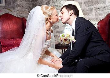 bonito, noiva, interior, noivo
