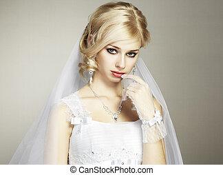 bonito, noiva, jovem, retrato, casório