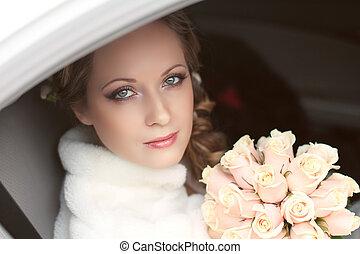 bonito, noiva, retrato mulher, com, buquê nupcial, posar,...
