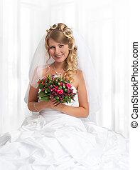 bonito, noiva, sorrindo, jovem, retrato