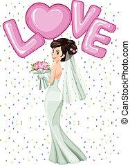 bonito, noiva, vestido branco
