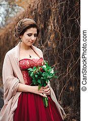 bonito, noiva, vestido, vermelho, retrato