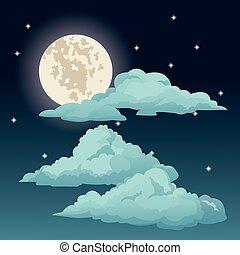 bonito, nuvens, céu, lua, estrelas, noturna