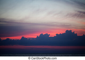 bonito, nuvens, céu, pôr do sol
