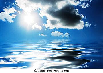bonito, nuvens, e, sol, refletir, em, a, water.