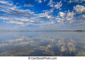 bonito, ocaso mar, com, reflexão, em, água