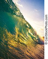 bonito, oceânicos, pôr do sol, onda